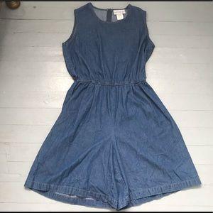 Vintage denim romper jumpsuit size large